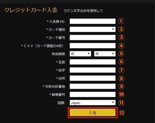 24オプションクレジットカード入金に必要な情報の入力