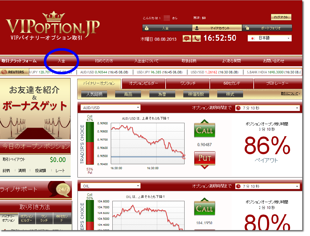 vipオプション公式サイトの入金選択項目