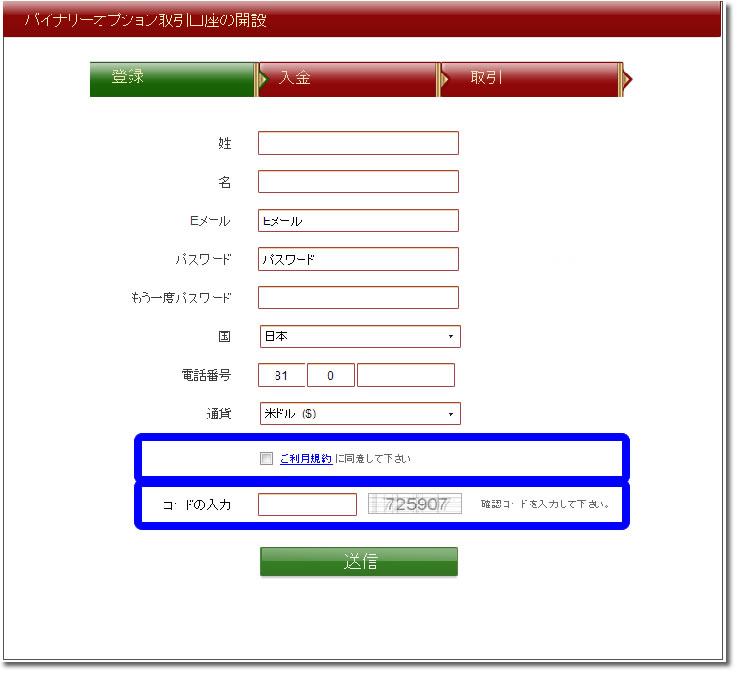 VIPオプション口座開設の利用規約に同意、セキュリティーコード入力
