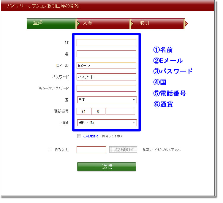 VIPオプションで口座開設情報を打ち込む最短方法