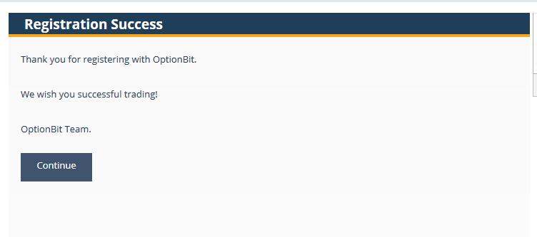 オプションビットの口座登録完了画面