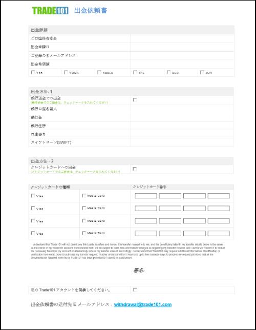 Trade101(トレード101)の出金申請書類