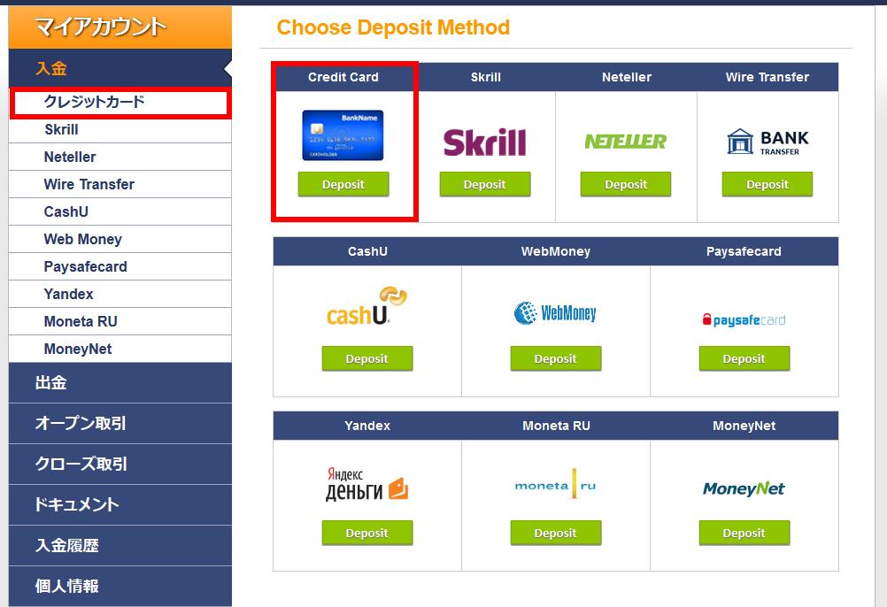 CTオプションのクレジットカード入金項目