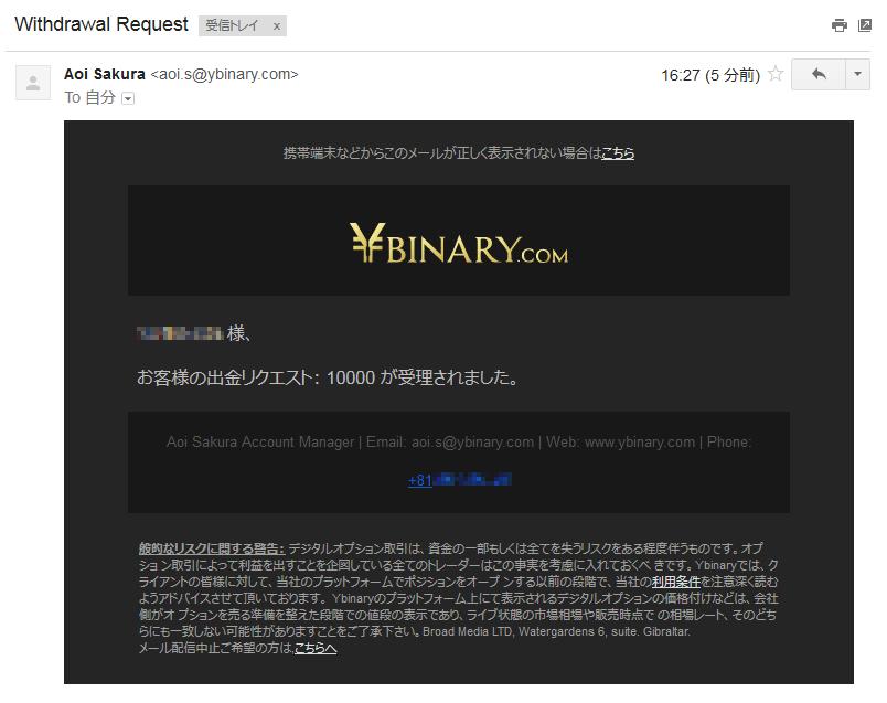 Yバイナリーの出金申請受理のメール