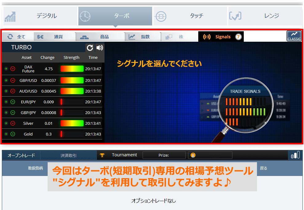 取引画面のターボにシグナル(Signals)ツールが存在します