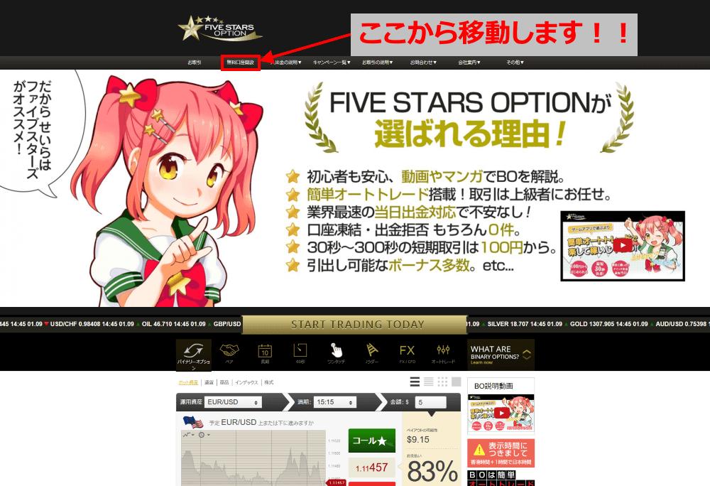 ファイブスターズオプションのトップページから無料口座開設ページに移動する