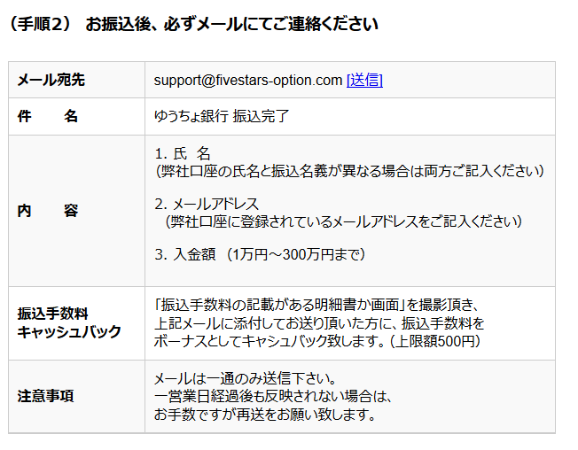 ファイブスターズオプションのゆうちょ銀行振込手順(その2)