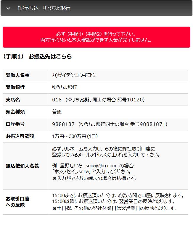 ファイブスターズオプションのゆうちょ銀行振込手順(その1)
