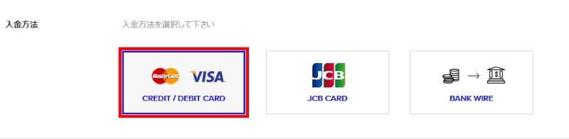 ザ・オプションでVISA/Mastercardの入金方法を選択する