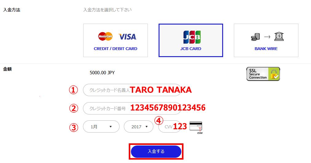 ザ・オプションでJCBカードの情報を入力する